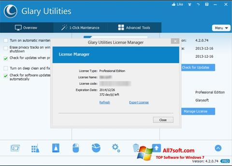 স্ক্রিনশট Glary Utilities Windows 7