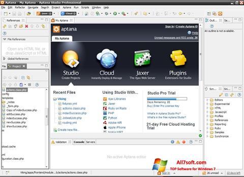 স্ক্রিনশট Aptana Studio Windows 7