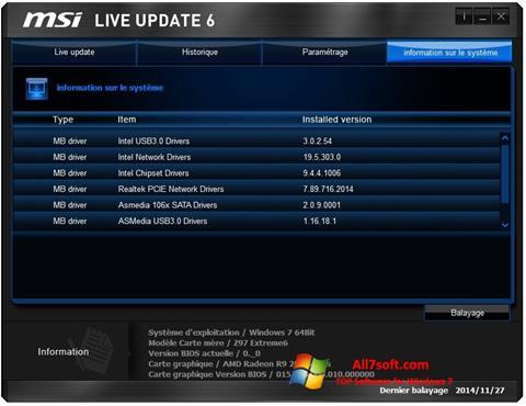 স্ক্রিনশট MSI Live Update Windows 7