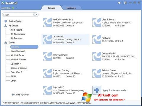 স্ক্রিনশট RaidCall Windows 7
