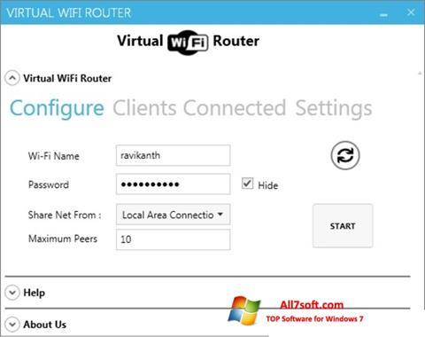 স্ক্রিনশট Virtual WiFi Router Windows 7