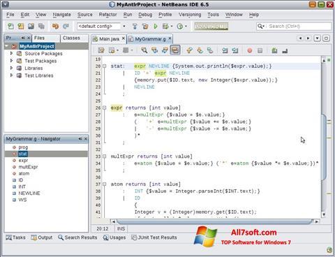 স্ক্রিনশট NetBeans Windows 7