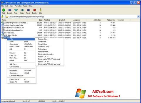 স্ক্রিনশট 7-Zip Windows 7