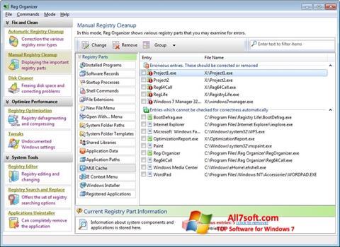 স্ক্রিনশট Reg Organizer Windows 7