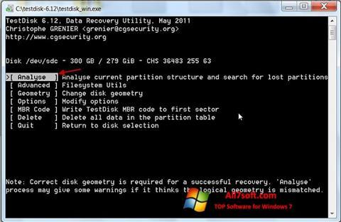 স্ক্রিনশট TestDisk Windows 7