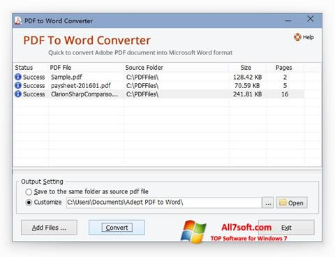 স্ক্রিনশট PDF to Word Converter Windows 7