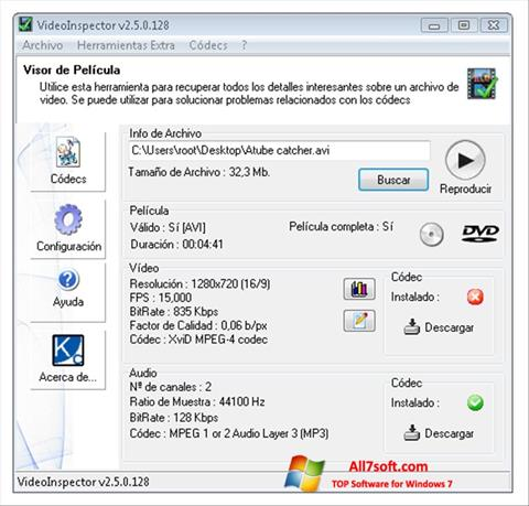 স্ক্রিনশট VideoInspector Windows 7