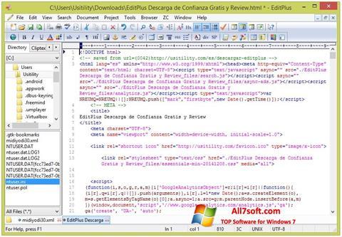 স্ক্রিনশট EditPlus Windows 7