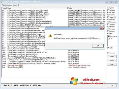 স্ক্রিনশট GMER Windows 7