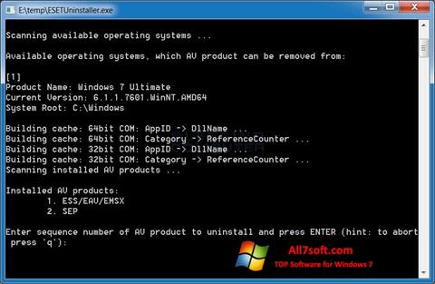 স্ক্রিনশট ESET Uninstaller Windows 7