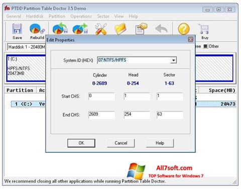 স্ক্রিনশট Partition Table Doctor Windows 7