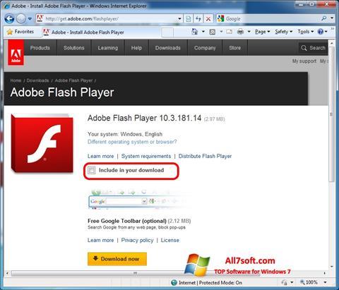 স্ক্রিনশট Adobe Flash Player Windows 7