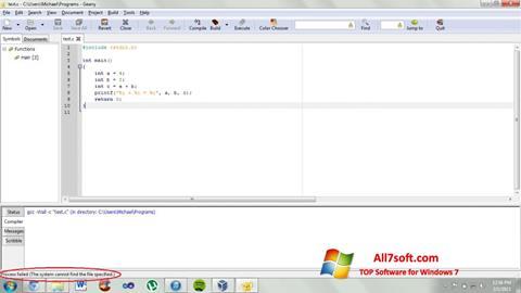 স্ক্রিনশট Geany Windows 7