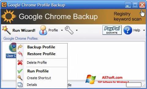 স্ক্রিনশট Google Chrome Backup Windows 7